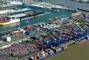 image: UK container shipping deep water port River Thames OPDR transhipment cargo feeder TEU
