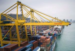 image: Konecranes Finnish ship to shore STS freight cranes container PT Pelabuhan Indonesia III (Persero) Surabaya