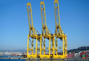 image: Spain Barcelona container terminal cranes ships vessels Grup TCB