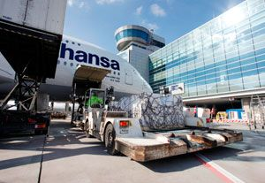 image: Germany France worldwide air freight cargo handling Frankfurt Paris CDG Fraport WFS tonnes