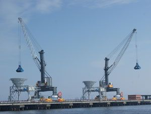 image: Poland Gdansk port container shipping bulk freight handling mobile harbour crane cargo