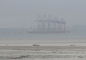 image: London Gateway container shipping port cranes China freight