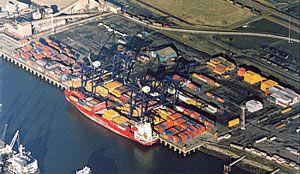 image: PD Ports logistics infrastructure stevedoring TEU shipping container bulk cargo