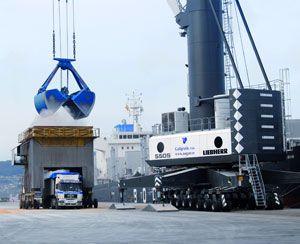 image: Liebherr Marin Spain bulk grain crane mobile harbour shipping lines