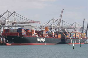 image: TEU Southampton ABP DP World container shipping port freight box deep sea