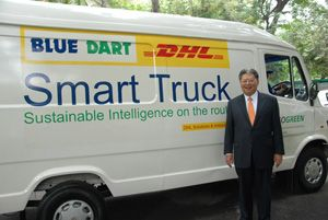 image: Germany India smart truck freight deliveries CO2 emissions fuel shipments