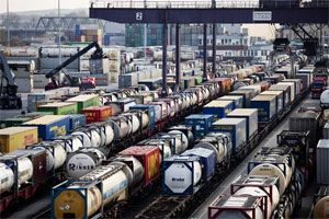 image: UK Germany China rail freight ship shipments traffic transport