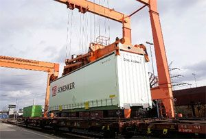 image: Germany Schenker logistics groupage shipping less than truck load intermodal multi modal
