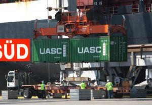 image: UASC Hamburg S�d container shipping line freight box CMA CGM
