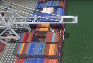 image: US Oakland port container ship TEU deep water dredging