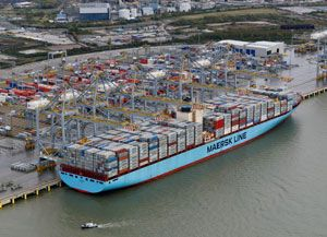 image: London Gateway River Thames Edith Maersk container ship merchant vessel Roman Muriophorio super tanker deep water port DPWorld