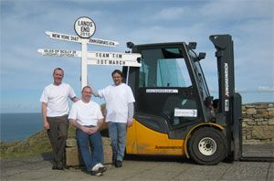 image: Jungheinrich Fork Lift Truck pallets freight cargo Cancer Research John O�Groats Lands End