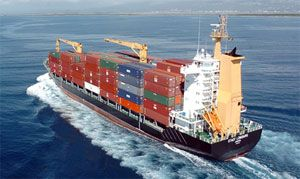 image: Haiti earthquake container shipping sea freight feeder landing craft dry refrigerated shuttle deep water port