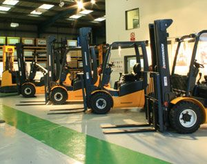 image: UK freight warehouse used fork lift truck pallet reach crane Jungheinrich