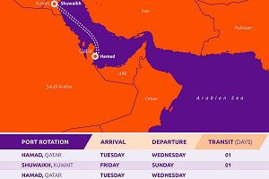 image: Qatar Kuwait airspace road haulage container shipping cargo blockade freight TEU service