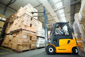 image: UK fork truck freight warehouse pallet port