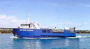 image: Bridport, Tasmania Lady Barron Flinders Island Cape Barren Island Port Welshpool, Victoria Australia ferry service Matthew port TasPorts passengers goods livestock