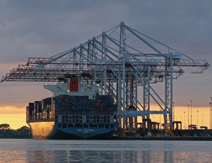 image: Liebherr TEU container cranes shipping box vessel