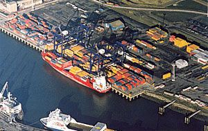 image: PD Ports Teeside freight container box traffic