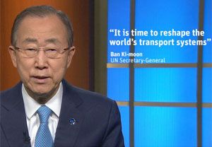 image: UN road haulage freight transport climate change Ban Ki-moon ministers Leipzig Summit environment