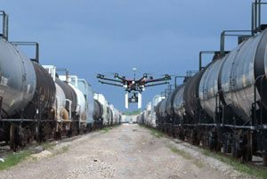 image: US drone freight logistics railyard technology INet rail track carriers automation AEI