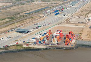 image: UK River Thames DP World London Gateway Pentalver Wincanton deep water container port logistics park