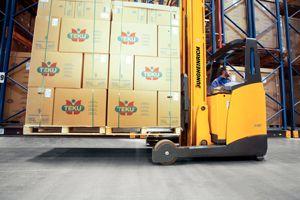 image: UK Germany forklift truck logistics warehouse Sainsbury