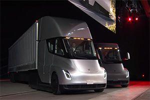 image: US Tesla Elon Musk Semi truck road haulage freight