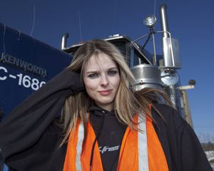 image: UK freight transport logistics ice road trucker everywoman driver ladies Lisa Kelly