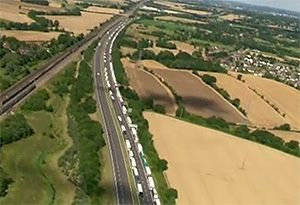 image: UK operation stack road haulage freight lorry park Kent Brexit