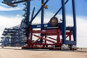 image: UK crane raising elevation deep water Port of Felixstowe TEU container handling London Gateway