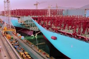 image: Maersk Line Denmark Korea container ship box carrier vessel TEU