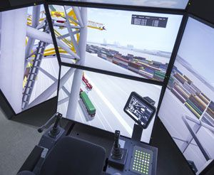 image: Middle East freight handling port container shipping bulk crane simulator Liebherr