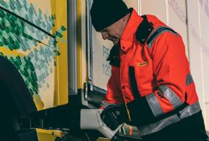 image: Sweden, DHL, freight, Volvo, trucks, HGVs, battery, power, electric,