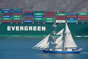 image: Mediterranean container sailing freight express shipping lines Cosco Yamg Ming Evergreen reefers