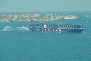 image: France CMA CGM Jules Verne container shipping TEU box carrier freight ship