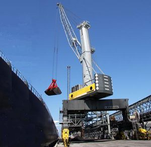 image: Austria mobile harbour crane freight cargo materials handling reach stackers ships