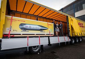 image: Netherlands Hyperloop logistics airfreight prototype shipping Delft DHL DP World