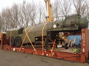 image: UK military British Army project freight forwarding agent tonne port Felixstowe Malaysia Penang