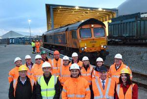 image: UK AV Dawson St Gobain British Gypsum GB Railfreight logistics freight canopy anhydrous