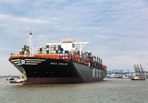 image: UK MSC Oscar Mediterranean Shipping container freight TEU box carrier environmental Titanic