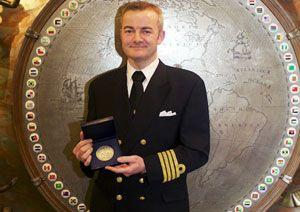 image: IMO RoRo cargo vessel sinking fire bravery awards Captain Andreas Kristensen Britannia Seaways
