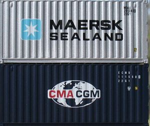 image: Maersk CMA CGM container shipping box rates cargo TEU RoRo