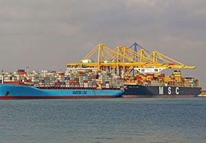 image: Maersk MSC container shipping vessel sharing 2M box freight