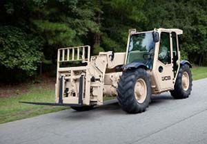 image: JCB forklift handling equipment logistics freight container terminal US Army