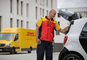 image: Germany Smart car express parcels logistics DHL drones courier