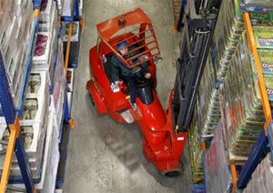 image: UK articulated fork lift truck cargo freight warehouse supply chain