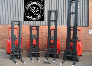 image: UK Safecontractor fork lift ruck supply chain Flexi Narrow Aisle Jungheinrich