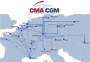 image: Greenmodal Transport CMA CGM France multimodal container shipping box freight