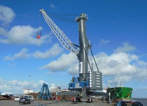 image: US Finland Germany bulk freight cargo shipping container terminal mobile harbour crane rubber tyred gantry